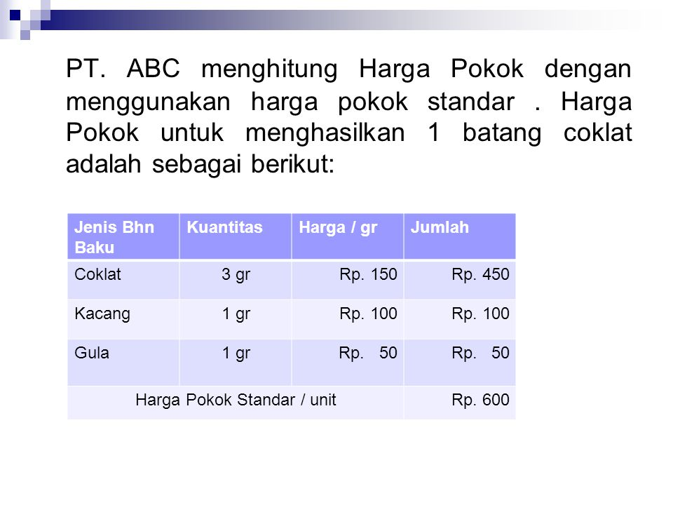 PT. ABC menghitung Harga Pokok dengan menggunakan harga pokok standar. Harga Pokok untuk menghasilkan 1 batang coklat adalah sebagai berikut: Jenis Bh