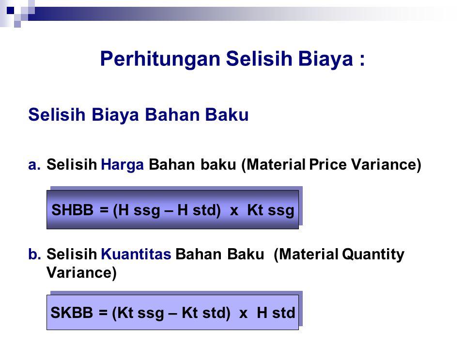 Perhitungan Selisih Biaya Selisih Komposisi Bahan Baku (Material Mix Variance) Selisih Hasil Bahan Baku (Material Yield Variance) Selisih Hasil Tenaga Kerja (Labor Yield Variance) Selisih Hasil Overhead Pabrik SKpBB = ( Kp ssg – Kp std ) x H std SHsBB = (Hs ssg – Hs std) x BBB std per unit hasil SHsTK = (Hs ssg – Hs std) x BTK std per unit hasil SHsOP = (Hs ssg – Hs std) x BOP std per unit hasil