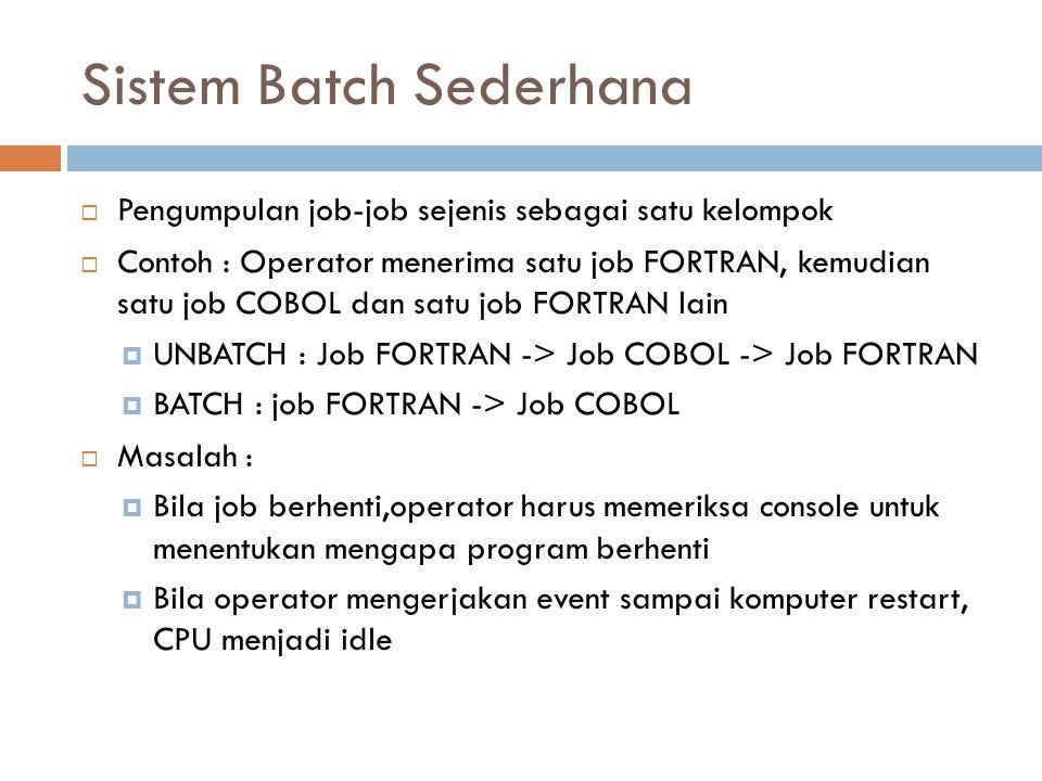 Sistem Batch Sederhana  Pengumpulan job-job sejenis sebagai satu kelompok  Contoh : Operator menerima satu job FORTRAN, kemudian satu job COBOL dan