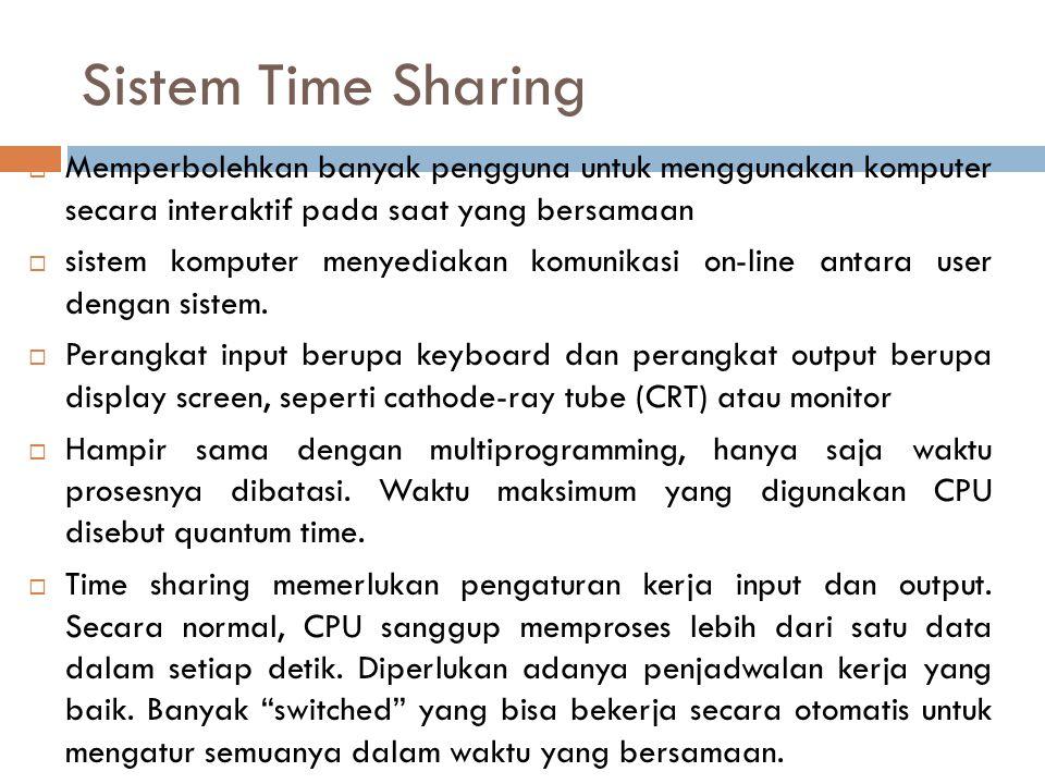 Sistem Time Sharing  Memperbolehkan banyak pengguna untuk menggunakan komputer secara interaktif pada saat yang bersamaan  sistem komputer menyediak