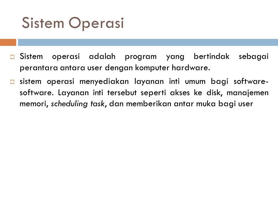 Sistem Operasi  Sistem operasi adalah program yang bertindak sebagai perantara antara user dengan komputer hardware.  sistem operasi menyediakan lay