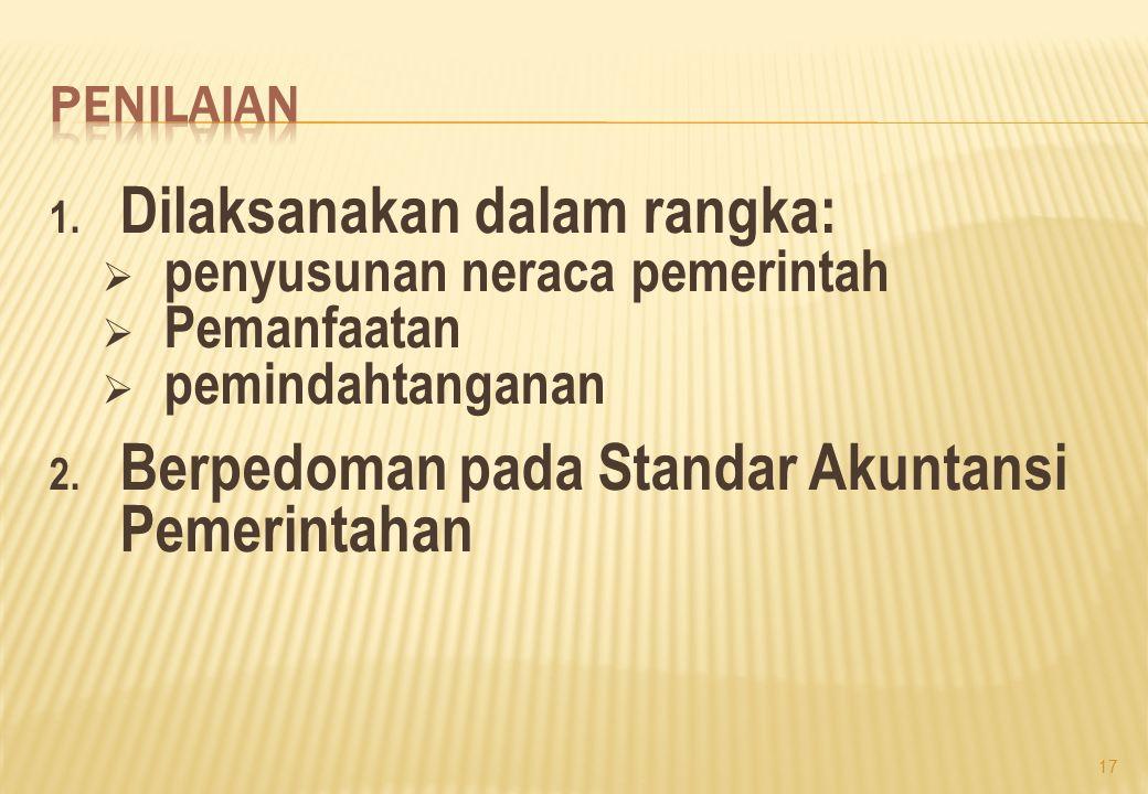 1. Dilaksanakan dalam rangka:  penyusunan neraca pemerintah  Pemanfaatan  pemindahtanganan 2. Berpedoman pada Standar Akuntansi Pemerintahan 17