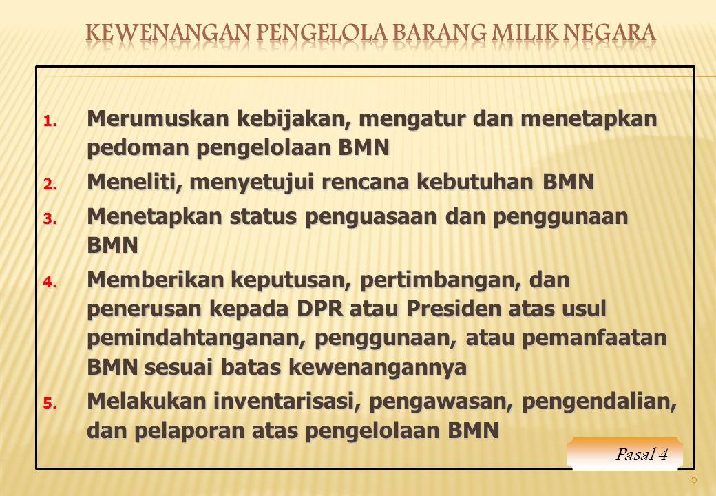 1. Merumuskan kebijakan, mengatur dan menetapkan pedoman pengelolaan BMN 2. Meneliti, menyetujui rencana kebutuhan BMN 3. Menetapkan status penguasaan