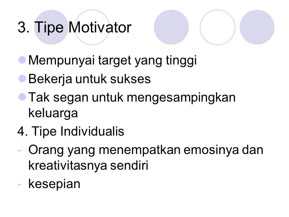 3. Tipe Motivator Mempunyai target yang tinggi Bekerja untuk sukses Tak segan untuk mengesampingkan keluarga 4. Tipe Individualis -Orang yang menempat