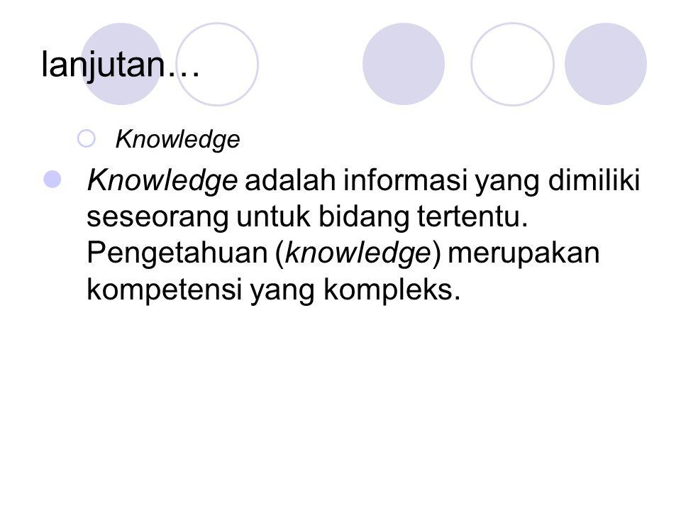 lanjutan…  Knowledge Knowledge adalah informasi yang dimiliki seseorang untuk bidang tertentu.