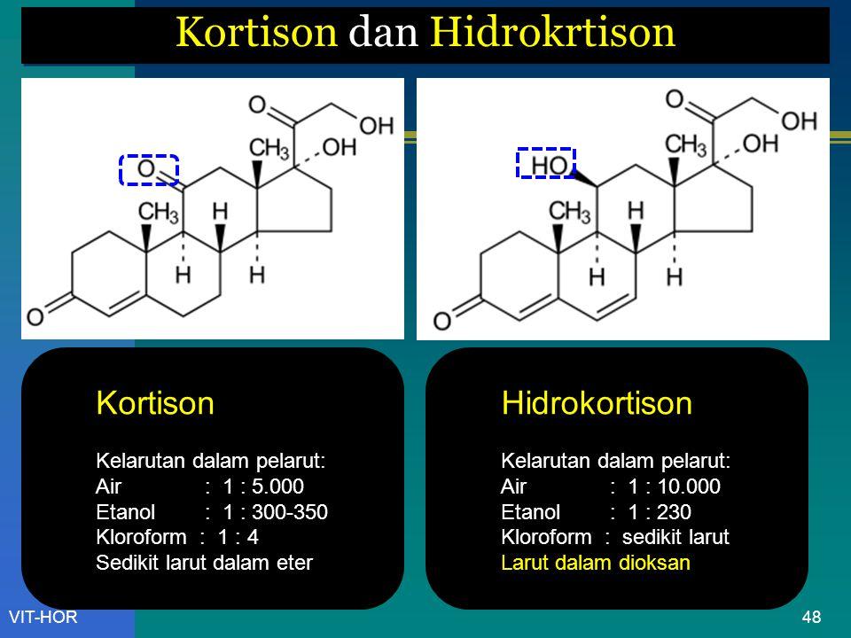 VIT-HOR Kortison dan Hidrokrtison Kortison Kelarutan dalam pelarut: Air : 1 : 5.000 Etanol : 1 : 300-350 Kloroform : 1 : 4 Sedikit larut dalam eter Hidrokortison Kelarutan dalam pelarut: Air : 1 : 10.000 Etanol : 1 : 230 Kloroform : sedikit larut Larut dalam dioksan 48