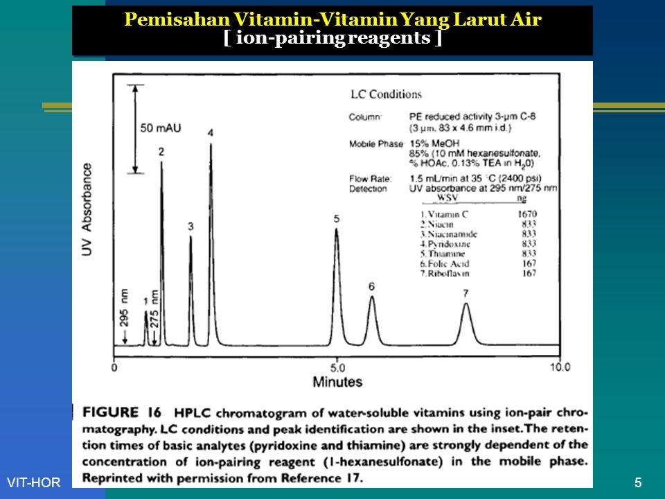VIT-HOR Netralisasi  Timbang seksama lebih kurang 400 mg, larutkan dalam campuran 100 mL air dan 25 mL asam sulfat 2N, tambahkan 3 mL kanji LP.