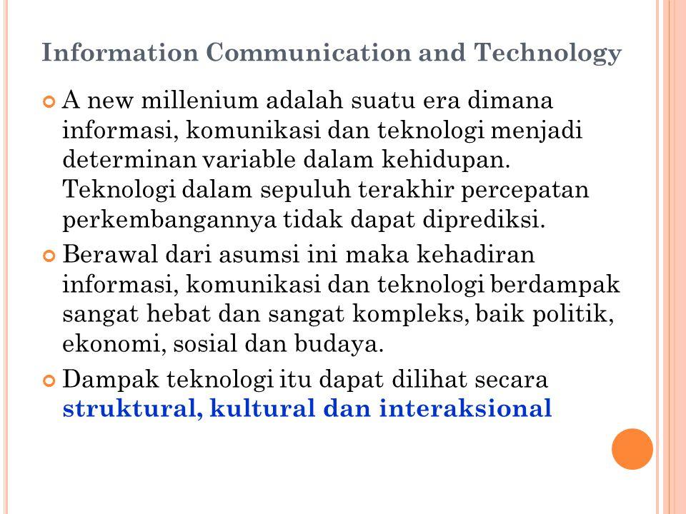 Information Communication and Technology A new millenium adalah suatu era dimana informasi, komunikasi dan teknologi menjadi determinan variable dalam kehidupan.