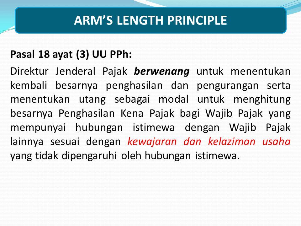 HUBUNGAN ISTIMEWA Pasal 18 ayat (4) (c) UU Pajak Penghasilan terdapat hubungan keluarga baik sedarah maupun semenda dalam garis keturunan lurus dan/at