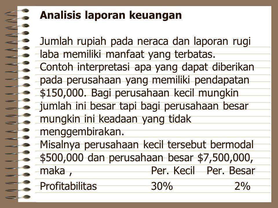 Analisis laporan keuangan Jumlah rupiah pada neraca dan laporan rugi laba memiliki manfaat yang terbatas. Contoh interpretasi apa yang dapat diberikan