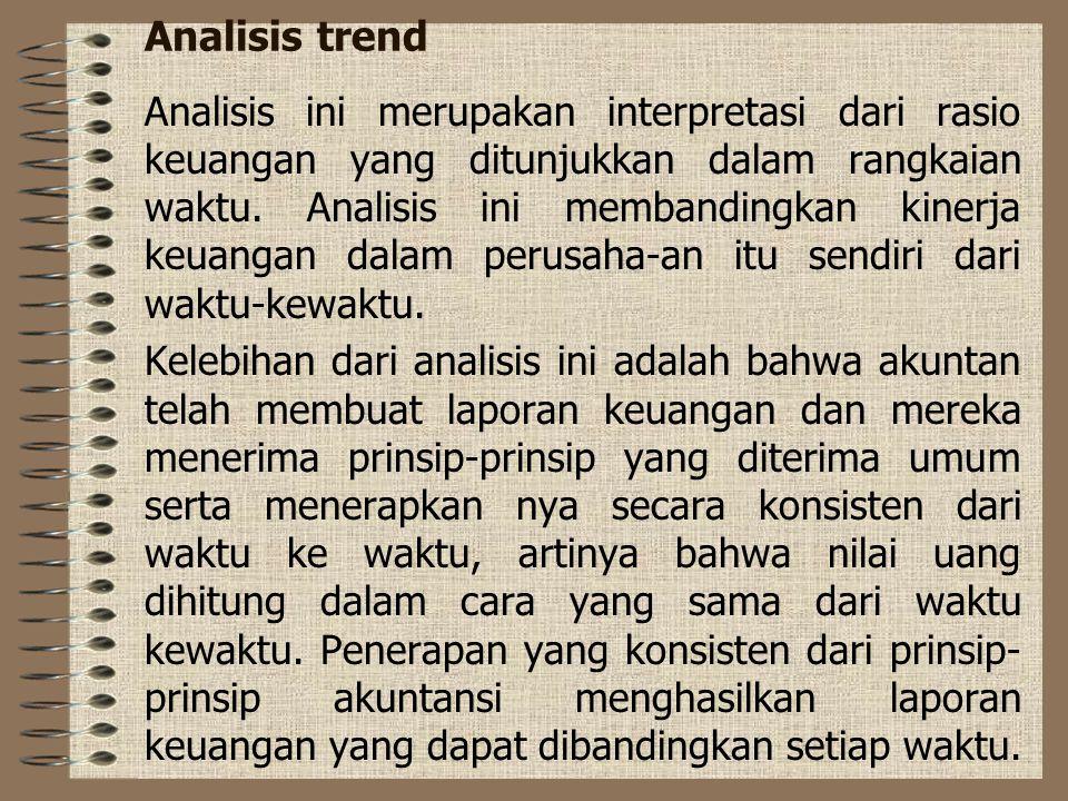 Analisis trend Analisis ini merupakan interpretasi dari rasio keuangan yang ditunjukkan dalam rangkaian waktu. Analisis ini membandingkan kinerja keua