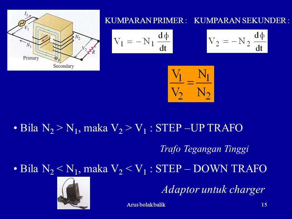 Arus bolak balik15 KUMPARAN PRIMER :KUMPARAN SEKUNDER : Bila N 2 > N 1, maka V 2 > V 1 : STEP –UP TRAFO Trafo Tegangan Tinggi Bila N 2 < N 1, maka V 2