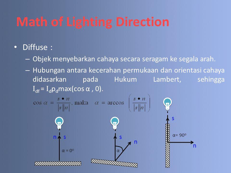 Diffuse : – Objek menyebarkan cahaya secara seragam ke segala arah. – Hubungan antara kecerahan permukaan dan orientasi cahaya didasarkan pada Hukum L