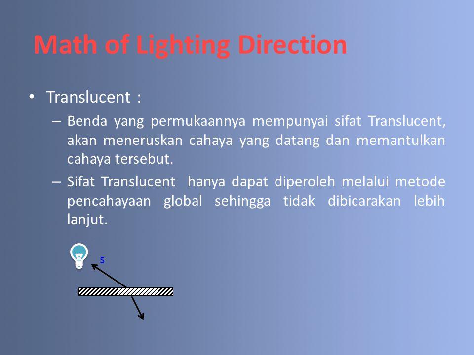 Translucent : – Benda yang permukaannya mempunyai sifat Translucent, akan meneruskan cahaya yang datang dan memantulkan cahaya tersebut. – Sifat Trans