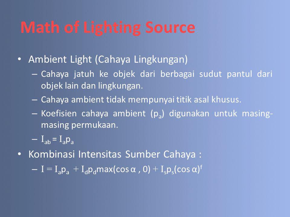 Ambient Light (Cahaya Lingkungan) – Cahaya jatuh ke objek dari berbagai sudut pantul dari objek lain dan lingkungan. – Cahaya ambient tidak mempunyai