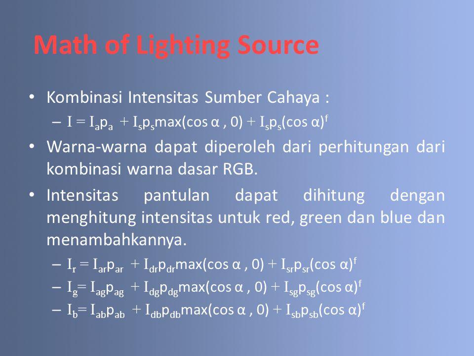 Kombinasi Intensitas Sumber Cahaya : –I = I a p a + I s p s max(cos α, 0) + I s p s (cos α) f Warna-warna dapat diperoleh dari perhitungan dari kombin