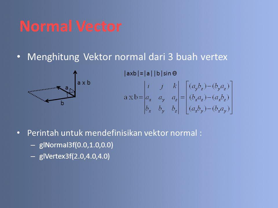 Menghitung Vektor normal dari 3 buah vertex Perintah untuk mendefinisikan vektor normal : – glNormal3f(0.0,1.0,0.0) – glVertex3f(2.0,4.0,4.0) Normal V