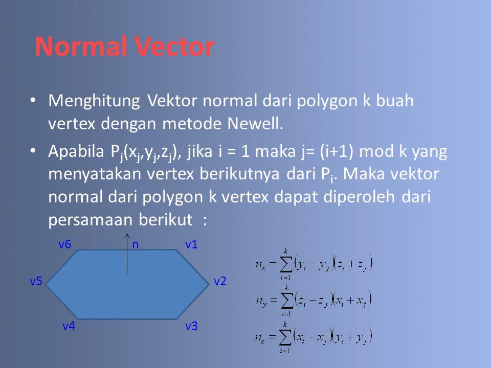 Menghitung Vektor normal dari polygon k buah vertex dengan metode Newell. Apabila P j (x j,y j,z j ), jika i = 1 maka j= (i+1) mod k yang menyatakan v