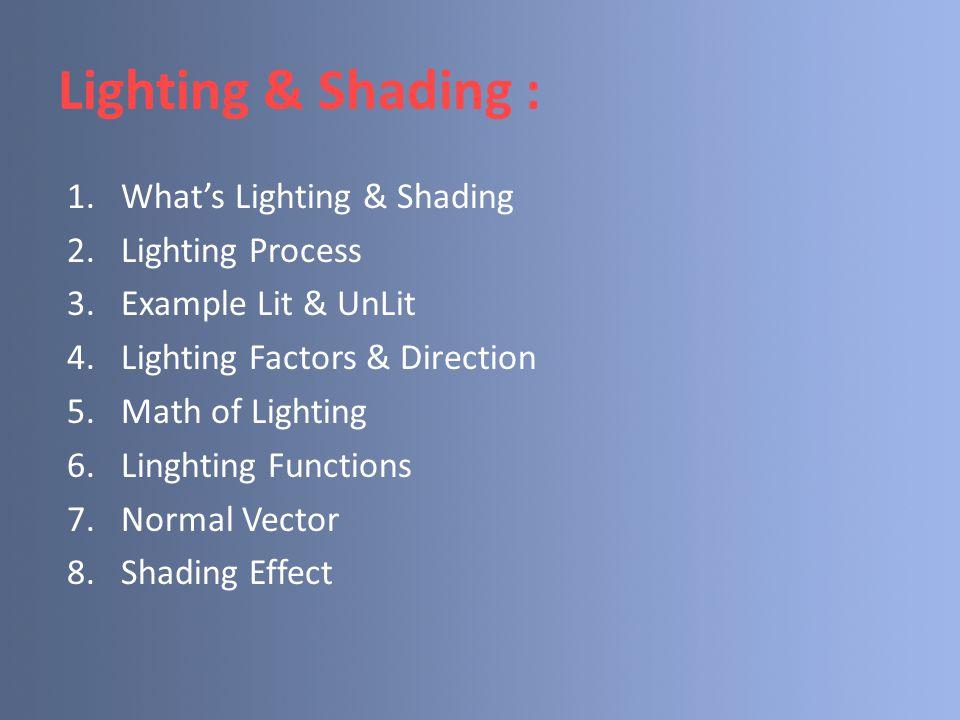 What's Lighting & Shading Lighting : Teknik yang dapat diterapkan pada proses rendering untuk menjadikan sebuah objek menjadi terlihat berbeda.