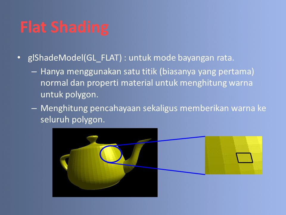 Flat Shading glShadeModel(GL_FLAT) : untuk mode bayangan rata. – Hanya menggunakan satu titik (biasanya yang pertama) normal dan properti material unt