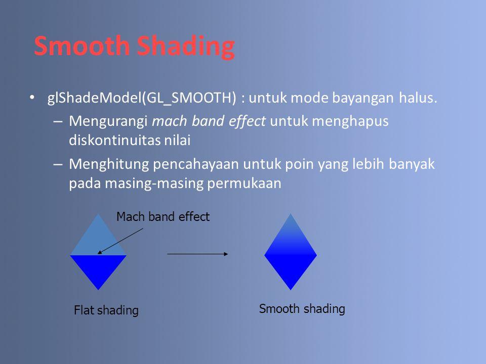 Smooth Shading glShadeModel(GL_SMOOTH) : untuk mode bayangan halus. – Mengurangi mach band effect untuk menghapus diskontinuitas nilai – Menghitung pe