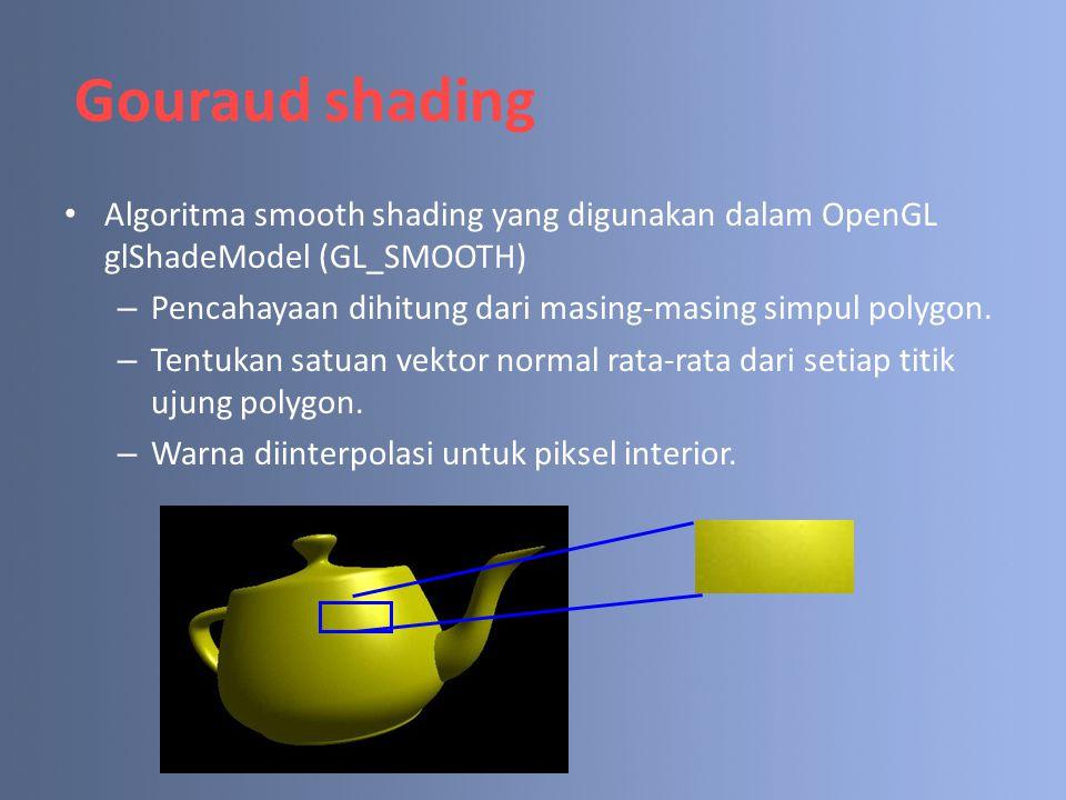 Gouraud shading Algoritma smooth shading yang digunakan dalam OpenGL glShadeModel (GL_SMOOTH) – Pencahayaan dihitung dari masing-masing simpul polygon