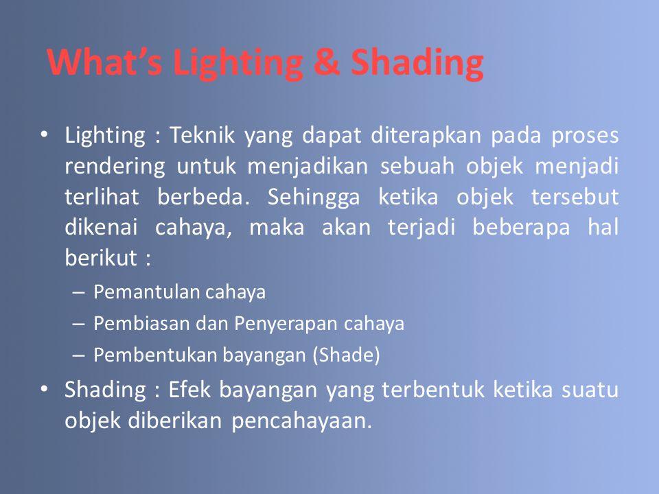 What's Lighting & Shading Lighting : Teknik yang dapat diterapkan pada proses rendering untuk menjadikan sebuah objek menjadi terlihat berbeda. Sehing
