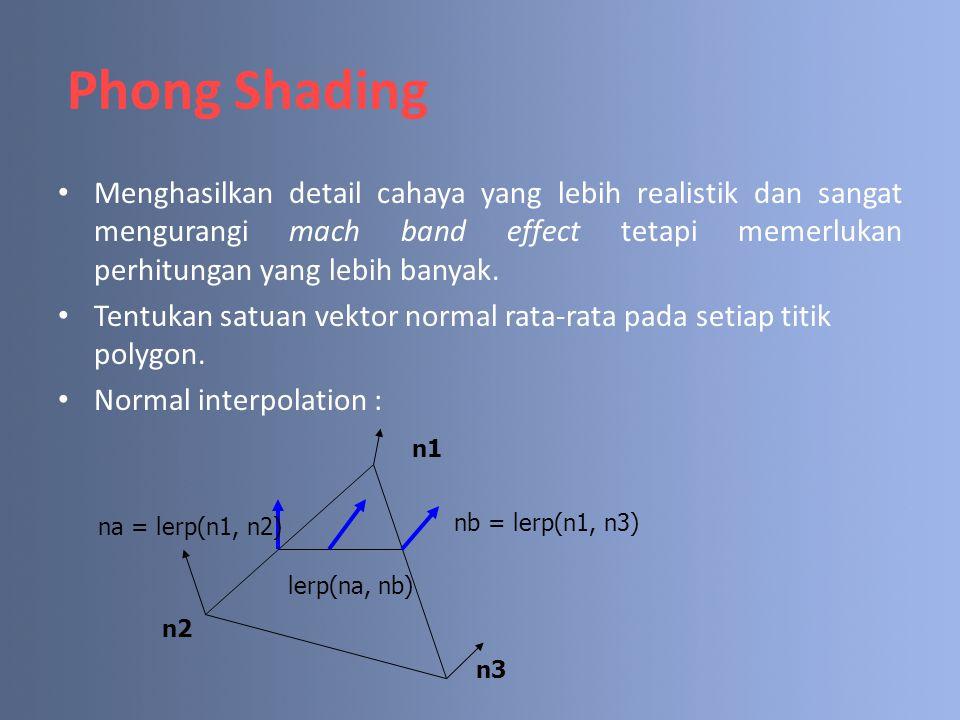 Phong Shading Menghasilkan detail cahaya yang lebih realistik dan sangat mengurangi mach band effect tetapi memerlukan perhitungan yang lebih banyak.