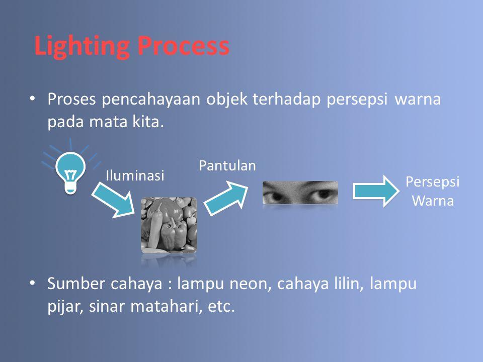 Lighting Process Proses pencahayaan objek terhadap persepsi warna pada mata kita. Sumber cahaya : lampu neon, cahaya lilin, lampu pijar, sinar matahar