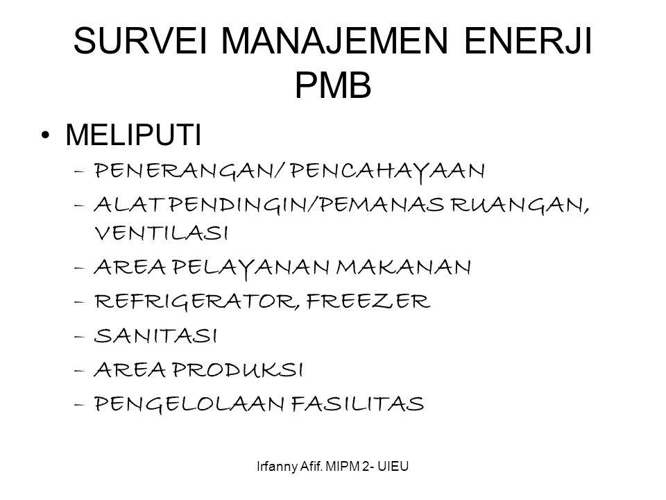 Irfanny Afif. MIPM 2- UIEU SURVEI MANAJEMEN ENERJI PMB MELIPUTI –PENERANGAN/ PENCAHAYAAN –ALAT PENDINGIN/PEMANAS RUANGAN, VENTILASI –AREA PELAYANAN MA
