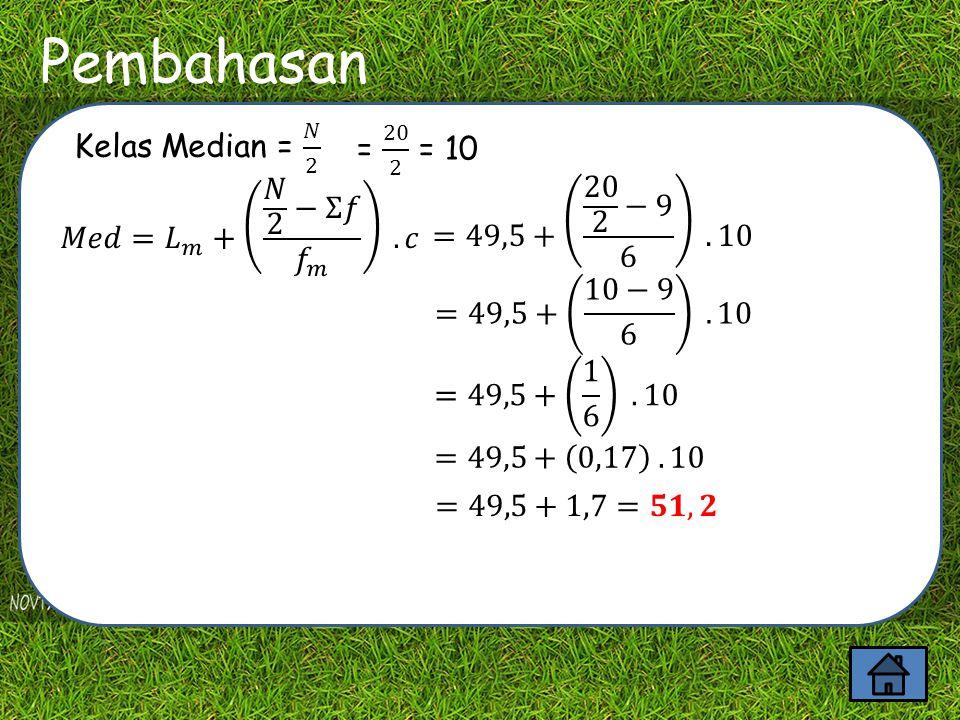 Contoh Soal Batas Kelasff≤f≥ Titik Tengah (mi) fi.mi 20 - 29 2 22024,549 30 - 393 518 34,5103,5 40 - 494 9 1544,5178 50 - 596 15 1154,5327 60 - 695 20 564,5322,5 ∑ 20980 Dari kasus diatas tentukan median (nilai tengah) .