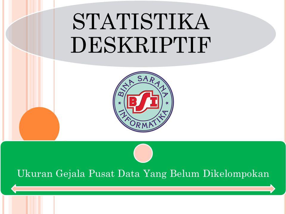 STATISTIKA DESKRIPTIF Ukuran Gejala Pusat Data Yang Belum Dikelompokan