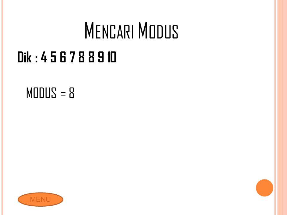 M ENCARI M ODUS Dik : 4 5 6 7 8 8 9 10 MODUS = 8 MENU