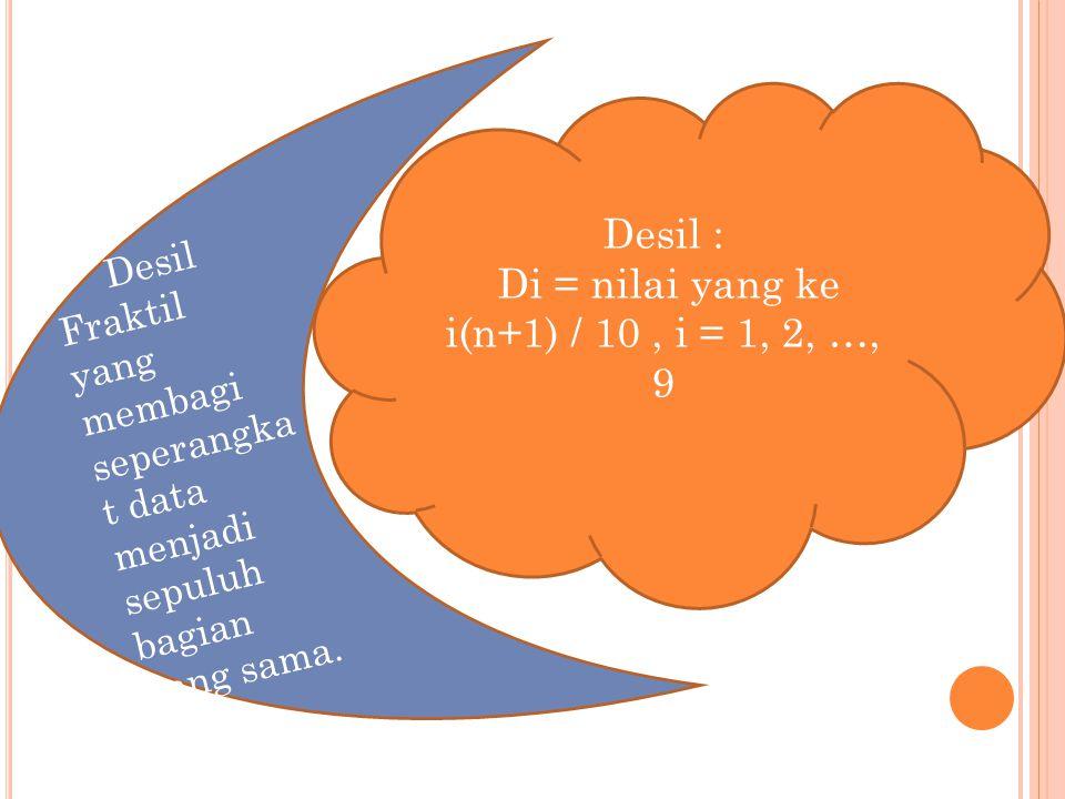 Desil : Di = nilai yang ke i(n+1) / 10, i = 1, 2, …, 9 Desil Fraktil yang membagi seperangka t data menjadi sepuluh bagian yang sama.
