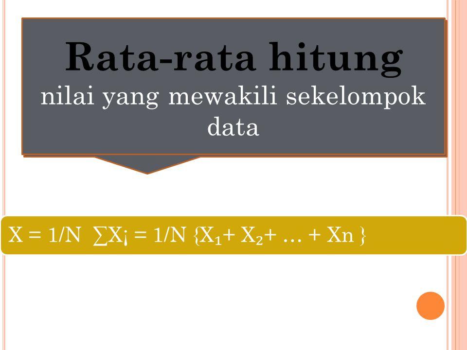 Rata-rata hitung nilai yang mewakili sekelompok data X = 1/N ∑X¡ = 1/N {X ₁ + X ₂ + … + Xn } Rata-rata hitung nilai yang mewakili sekelompok data