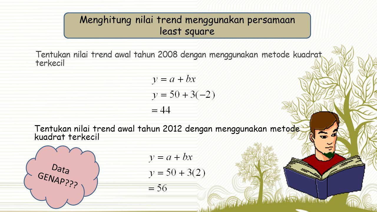 Tentukan nilai trend awal tahun 2012 dengan menggunakan metode kuadrat terkecil Tentukan nilai trend awal tahun 2008 dengan menggunakan metode kuadrat