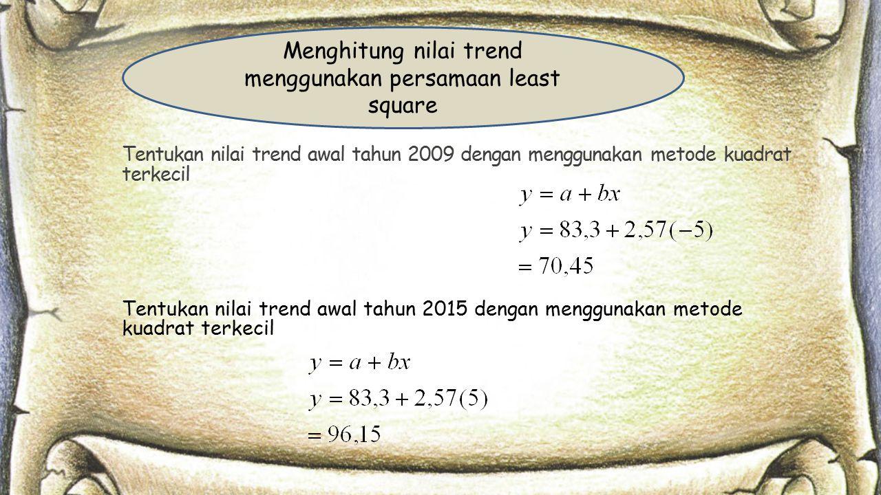 Tentukan nilai trend awal tahun 2009 dengan menggunakan metode kuadrat terkecil Tentukan nilai trend awal tahun 2015 dengan menggunakan metode kuadrat