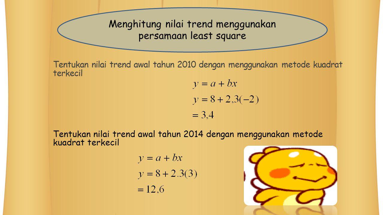 Tentukan nilai trend awal tahun 2010 dengan menggunakan metode kuadrat terkecil Tentukan nilai trend awal tahun 2014 dengan menggunakan metode kuadrat
