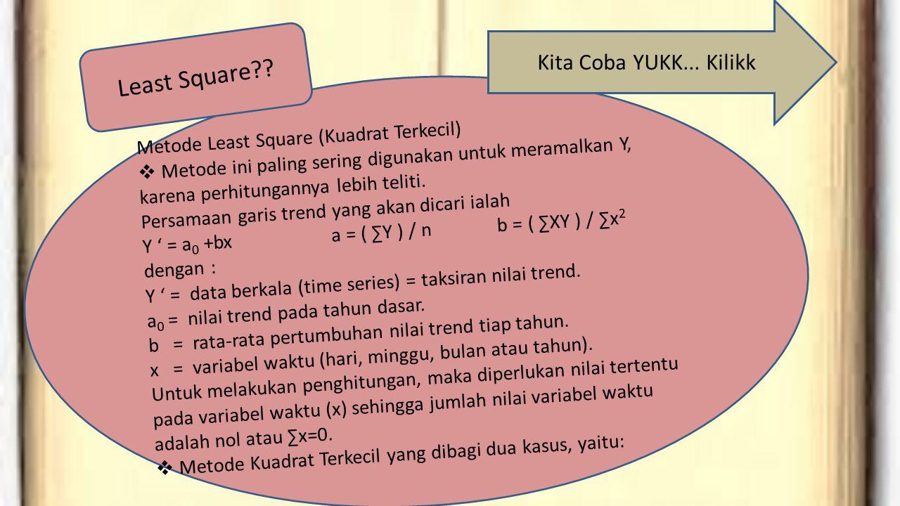 Metode Least Square (Kuadrat Terkecil)  Metode ini paling sering digunakan untuk meramalkan Y, karena perhitungannya lebih teliti. Persamaan garis tr