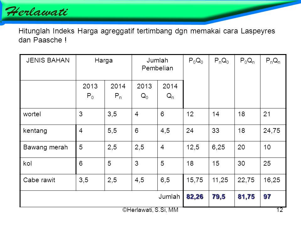 ©Herlawati, S.Si, MM12 Hitunglah Indeks Harga agreggatif tertimbang dgn memakai cara Laspeyres dan Paasche .