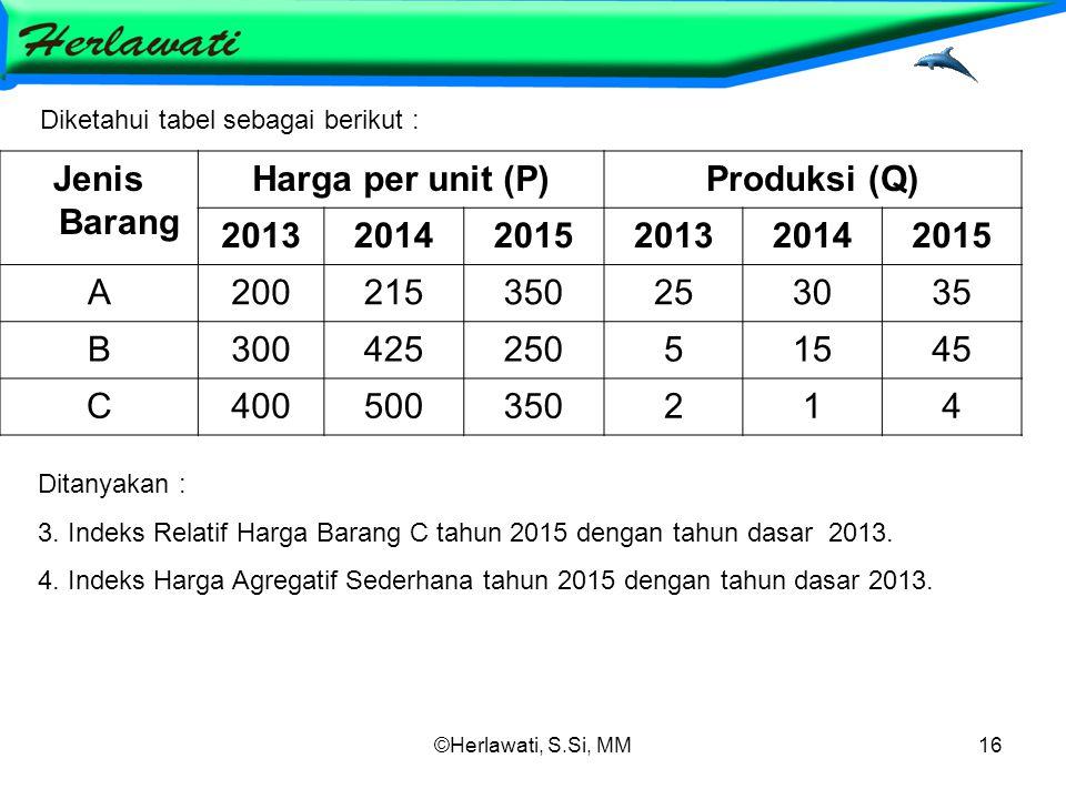©Herlawati, S.Si, MM16 Jenis Barang Harga per unit (P)Produksi (Q) 201320142015201320142015 A20021535035025253035 B30042525051545 C400500350214 Diketahui tabel sebagai berikut : Ditanyakan : 3.