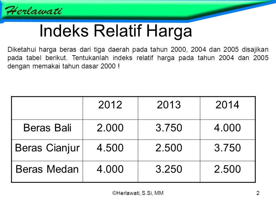 ©Herlawati, S.Si, MM2 Indeks Relatif Harga 201220132014 Beras Bali2.0003.7504.000 Beras Cianjur4.5002.5003.750 Beras Medan4.0003.2502.500 Diketahui harga beras dari tiga daerah pada tahun 2000, 2004 dan 2005 disajikan pada tabel berikut.