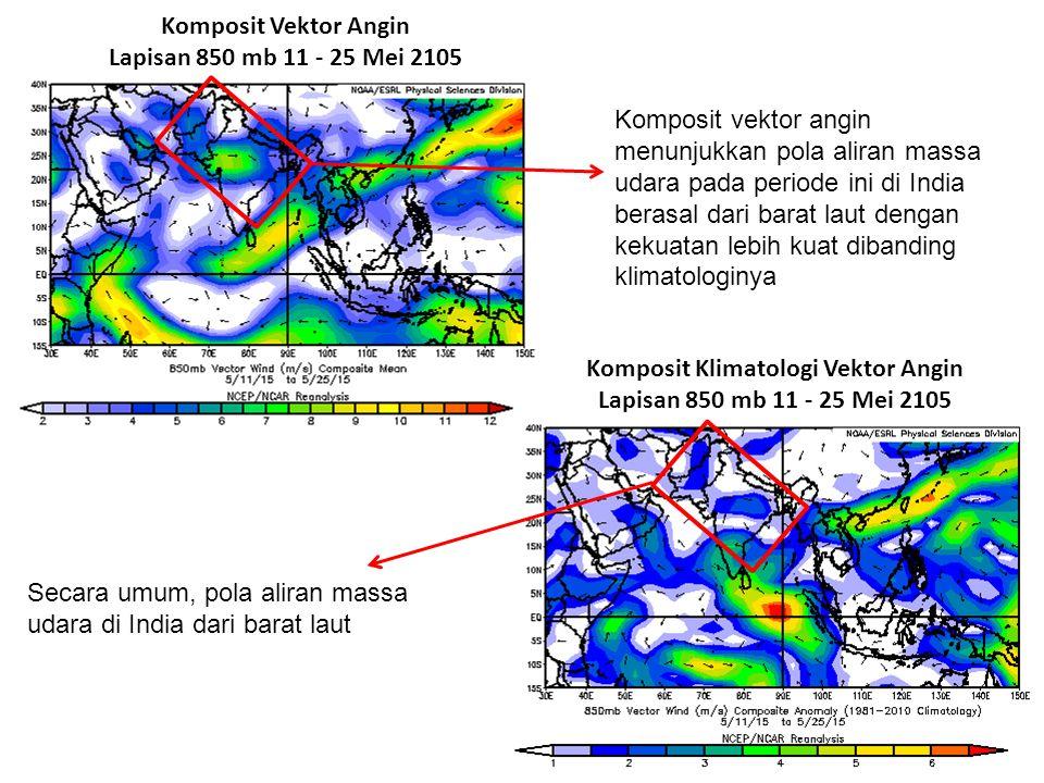 Secara umum, pola aliran massa udara di India dari barat laut Komposit Vektor Angin Lapisan 850 mb 11 - 25 Mei 2105 Komposit Klimatologi Vektor Angin