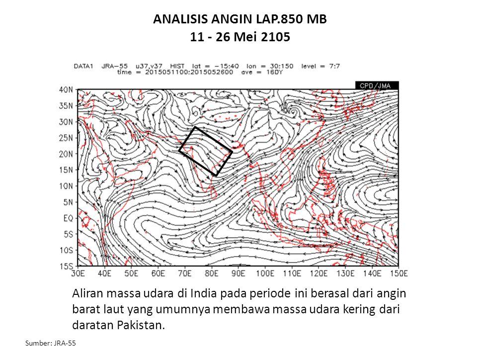 ANALISIS ANGIN LAP.850 MB 11 - 26 Mei 2105 Sumber: JRA-55 Aliran massa udara di India pada periode ini berasal dari angin barat laut yang umumnya memb