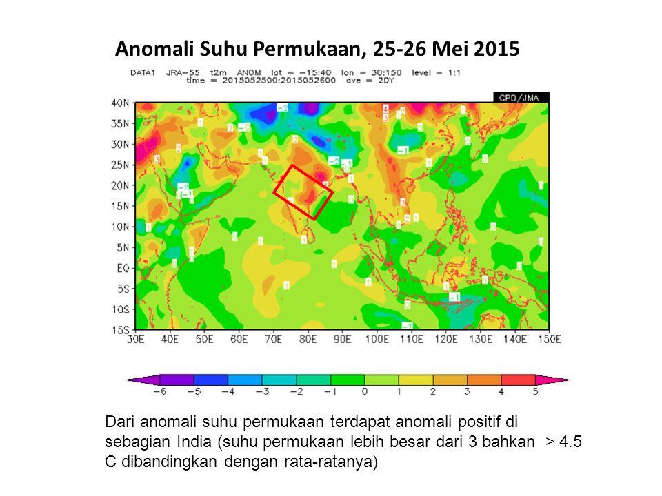 Anomali Suhu Permukaan, 25-26 Mei 2015 Dari anomali suhu permukaan terdapat anomali positif di sebagian India (suhu permukaan lebih besar dari 3 bahka