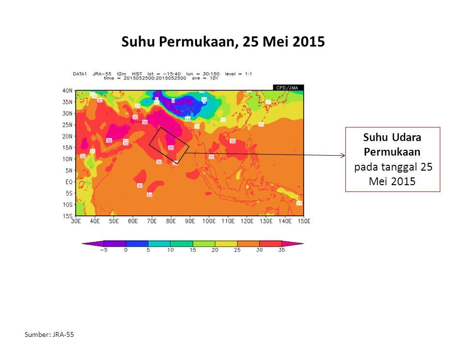 Hovmoller Anomali Suhu Permukaan, 11-26 Mei 2015 Penjalaran anomali positif suhu permukaan terlihat bergerak ke arah timur mulai dari Jazirah Arab (40 – 50 E) menuju wilayah daratan India (70 – 90 E) Wilayah India
