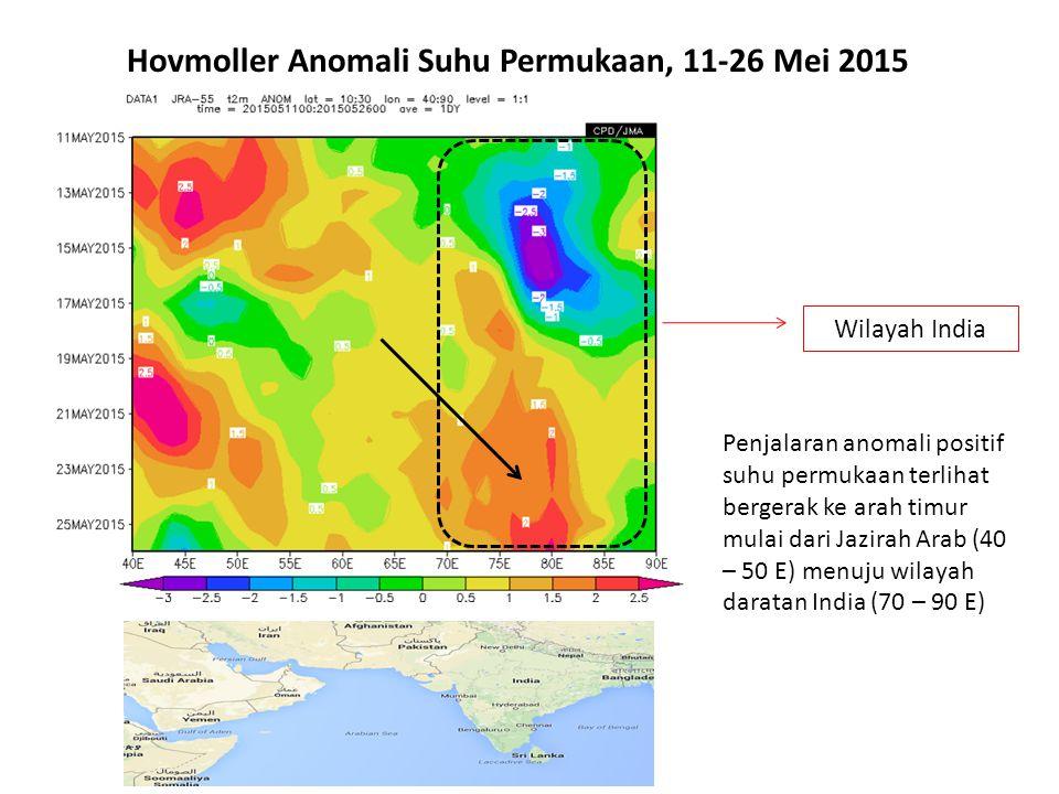 Hovmoller Anomali Suhu Permukaan, 11-26 Mei 2015 Penjalaran anomali positif suhu permukaan terlihat bergerak ke arah timur mulai dari Jazirah Arab (40