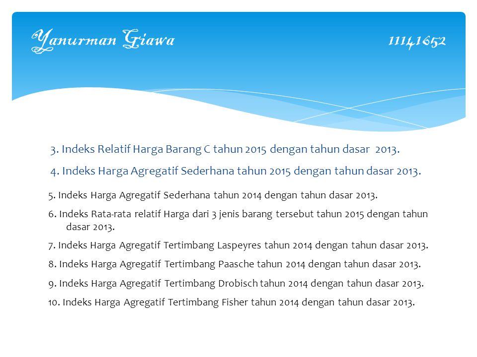 Yanurman Giawa 11141652 3.Indeks Relatif Harga Barang C tahun 2015 dengan tahun dasar 2013.