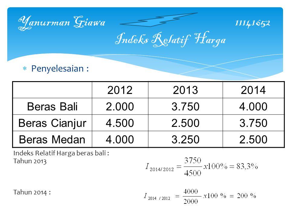 Yanurman Giawa 11141652 Indeks Relatif Harga  Penyelesaian : 201220132014 Beras Bali2.0003.7504.000 Beras Cianjur4.5002.5003.750 Beras Medan4.0003.2502.500 Indeks Relatif Harga beras bali : Tahun 2013 Tahun 2014 :
