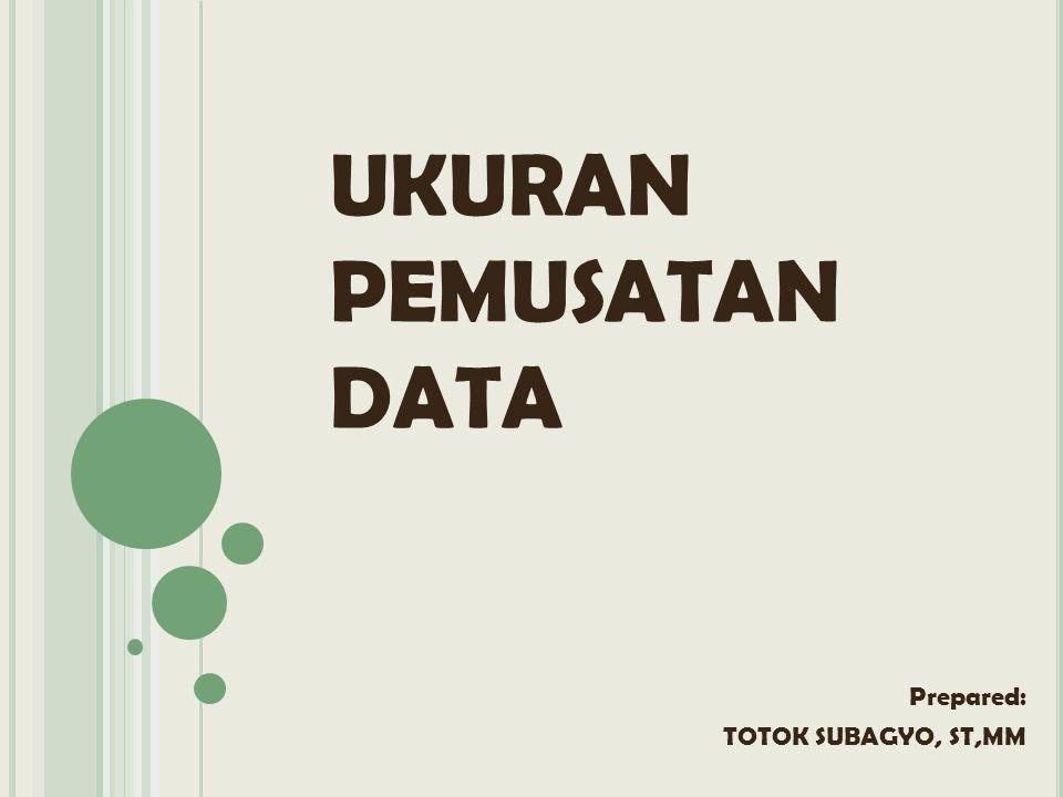 UKURAN PEMUSATAN DATA Prepared: TOTOK SUBAGYO, ST,MM